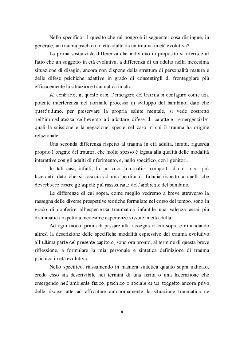 Anteprima della tesi: I Disturbi reattivi dello sviluppo: Traumi psichici e Disturbo post traumatico da stress, Pagina 9
