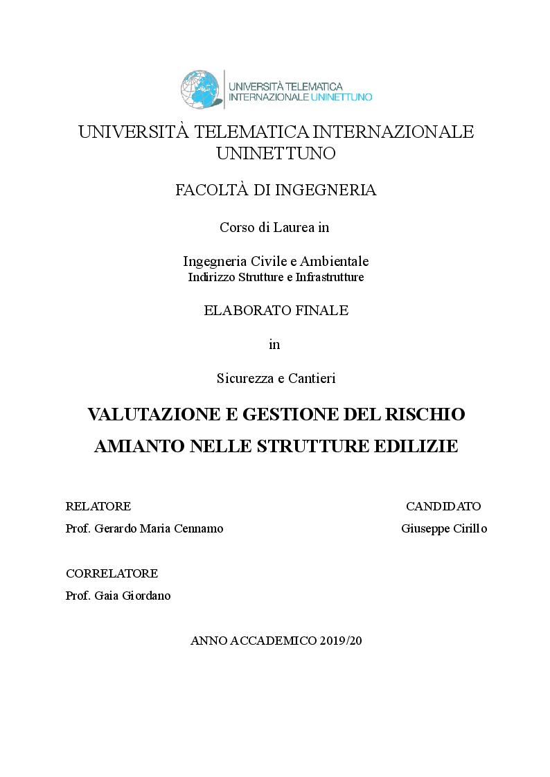 Anteprima della tesi: Valutazione e gestione del rischio amianto nelle strutture edilizie, Pagina 1
