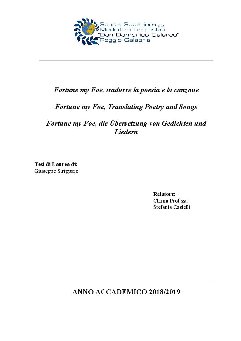Anteprima della tesi: Fortune my Foe, tradurre la poesia e la canzone, Pagina 1