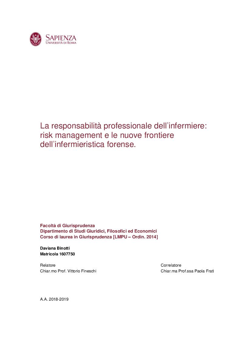 Anteprima della tesi: La responsabilità professionale dell'infermiere: risk management e le nuove frontiere dell'infermieristica forense, Pagina 1