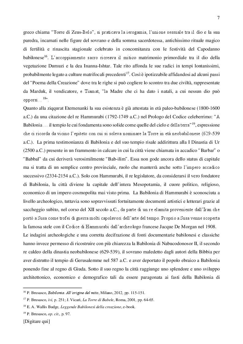 Anteprima della tesi: La Torre di Babele tra mito, arte e storia, Pagina 6
