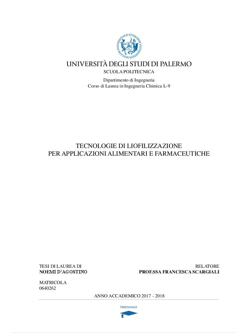 Anteprima della tesi: Tecnologie di liofilizzazione per applicazioni alimentari e farmaceutiche, Pagina 1