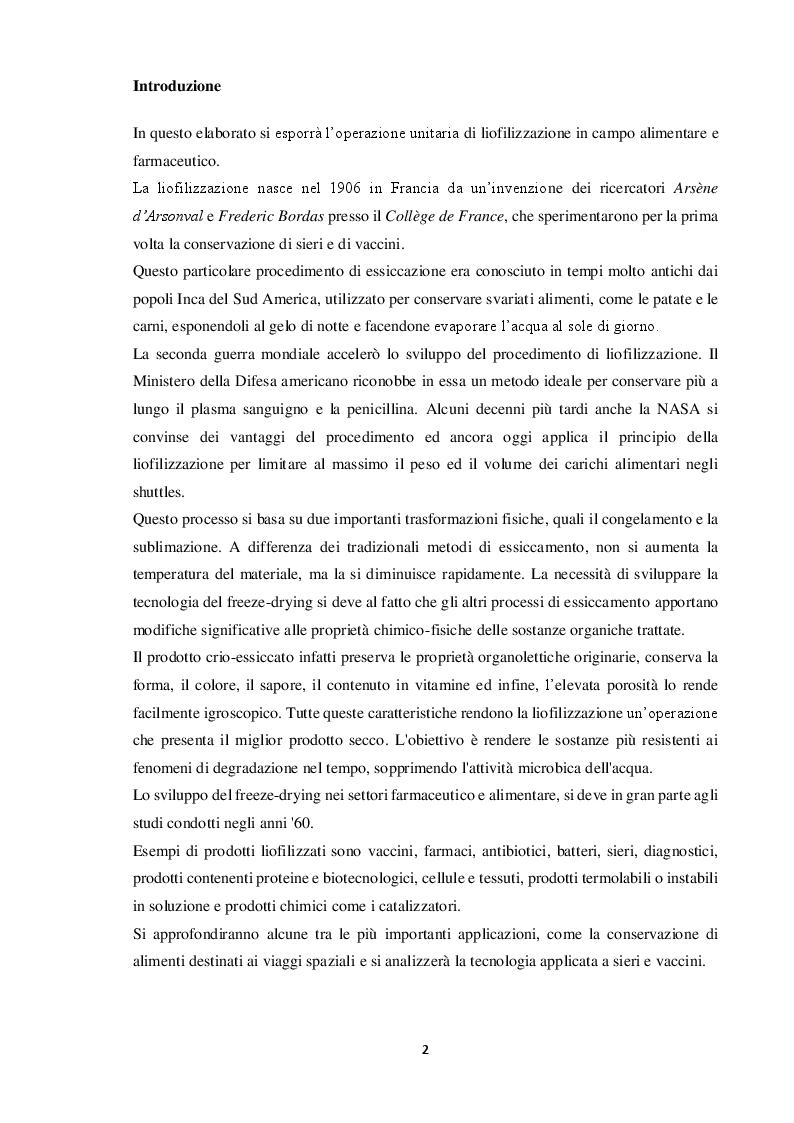 Anteprima della tesi: Tecnologie di liofilizzazione per applicazioni alimentari e farmaceutiche, Pagina 2