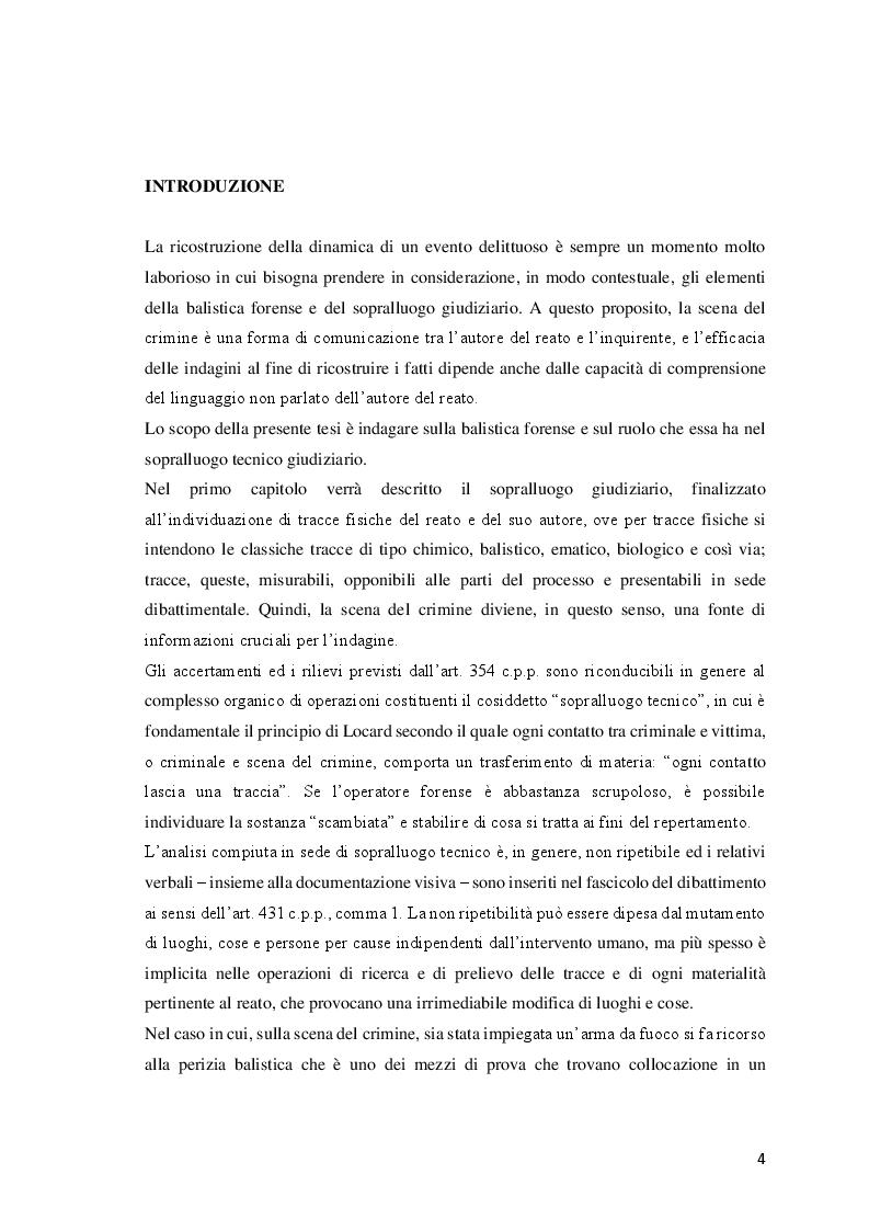 Anteprima della tesi: Le investigazioni scientifiche della polizia giudiziaria: Il sopralluogo tecnico e le indagini balistiche forensi., Pagina 3