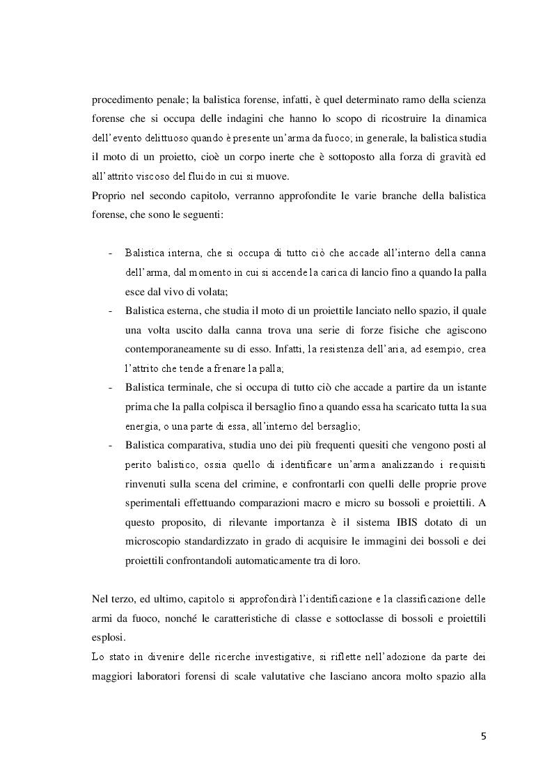 Anteprima della tesi: Le investigazioni scientifiche della polizia giudiziaria: Il sopralluogo tecnico e le indagini balistiche forensi., Pagina 4