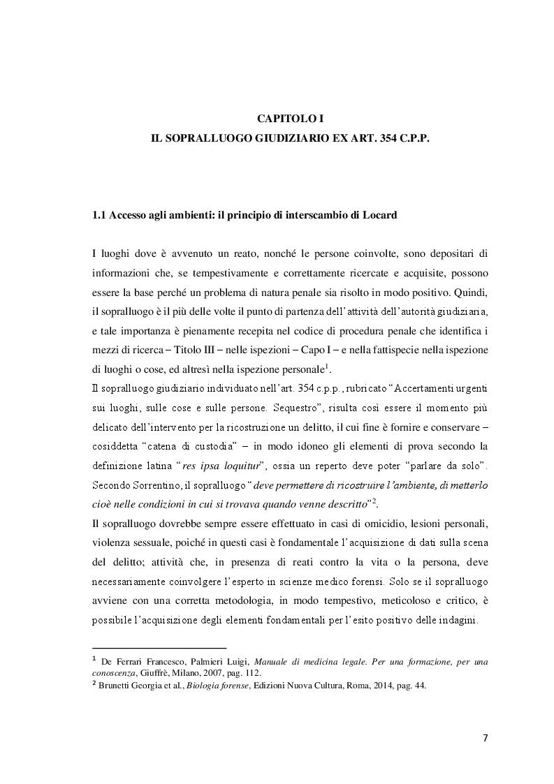 Anteprima della tesi: Le investigazioni scientifiche della polizia giudiziaria: Il sopralluogo tecnico e le indagini balistiche forensi., Pagina 6