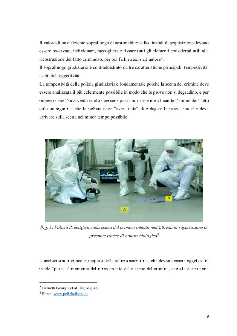 Anteprima della tesi: Le investigazioni scientifiche della polizia giudiziaria: Il sopralluogo tecnico e le indagini balistiche forensi., Pagina 8