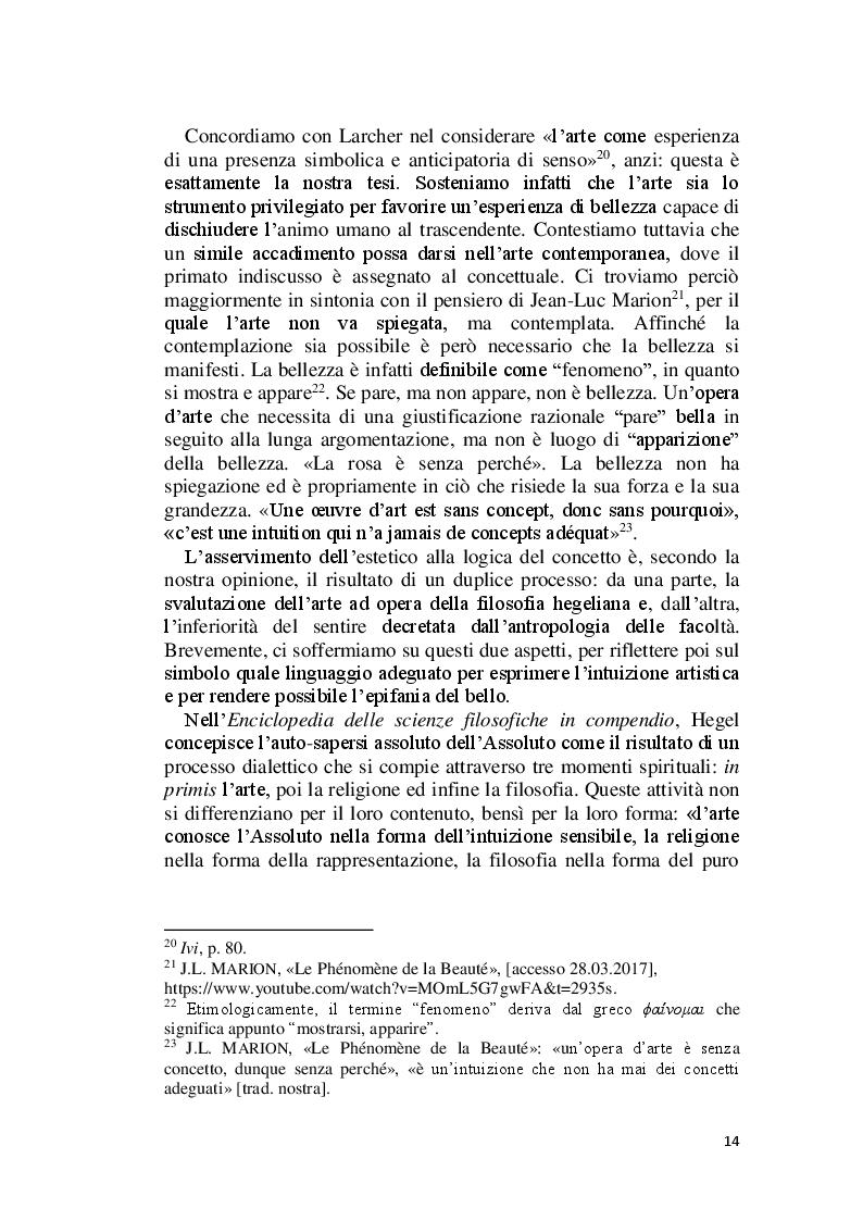 Estratto dalla tesi: La Bellezza e il suo appello pro-vocante. Un percorso filosofico e teologico