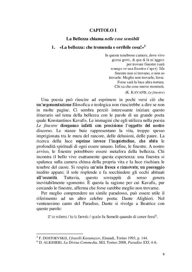 Anteprima della tesi: La Bellezza e il suo appello pro-vocante. Un percorso filosofico e teologico, Pagina 7