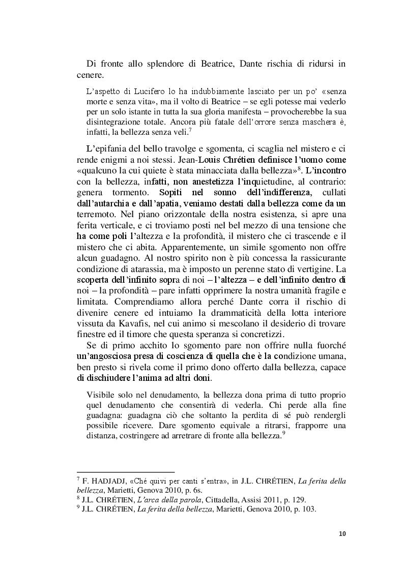 Anteprima della tesi: La Bellezza e il suo appello pro-vocante. Un percorso filosofico e teologico, Pagina 8