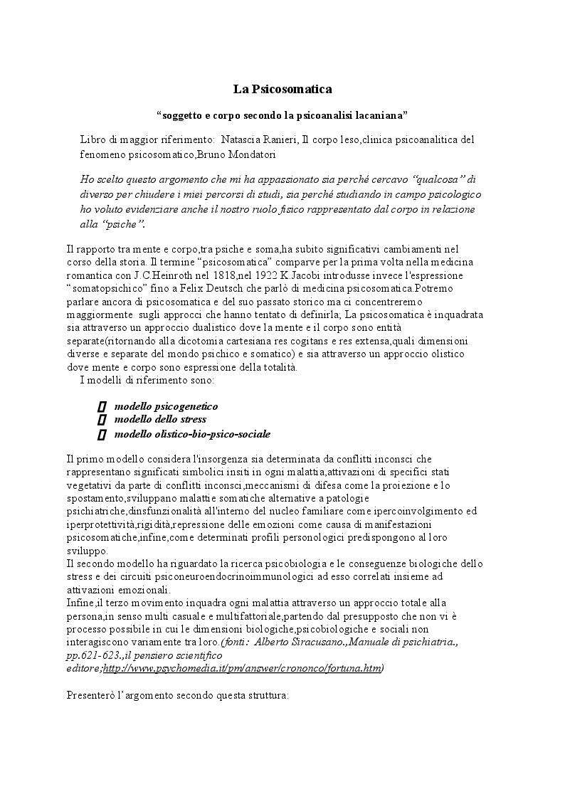 Anteprima della tesi: La Psicosomatica: ''soggetto e corpo secondo la psicoanalisi lacaniana'', Pagina 2