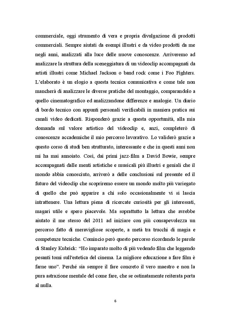 Anteprima della tesi: Il Videoclip Musicale: storia, sceneggiatura e tecniche, Pagina 3