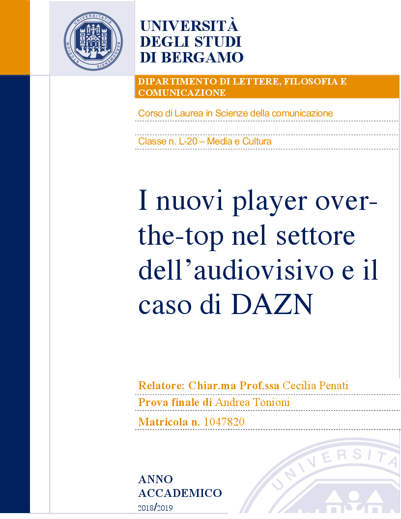 Anteprima della tesi: I nuovi player over-the-top nel settore dell'audiovisivo e il caso di DAZN, Pagina 1