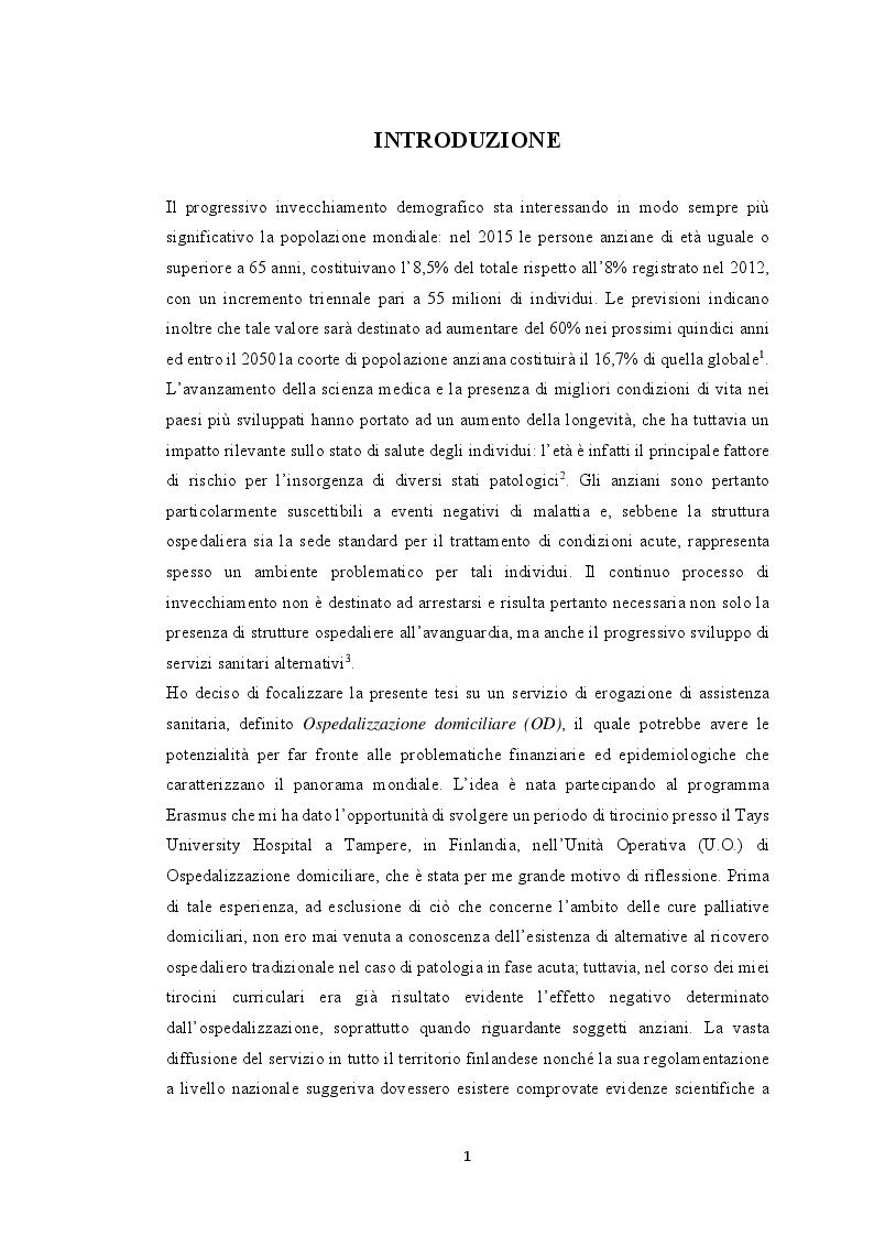 Anteprima della tesi: Modelli innovativi di ospedalizzazione: potenzialità del setting domiciliare come sede alternativa di ricovero, Pagina 2