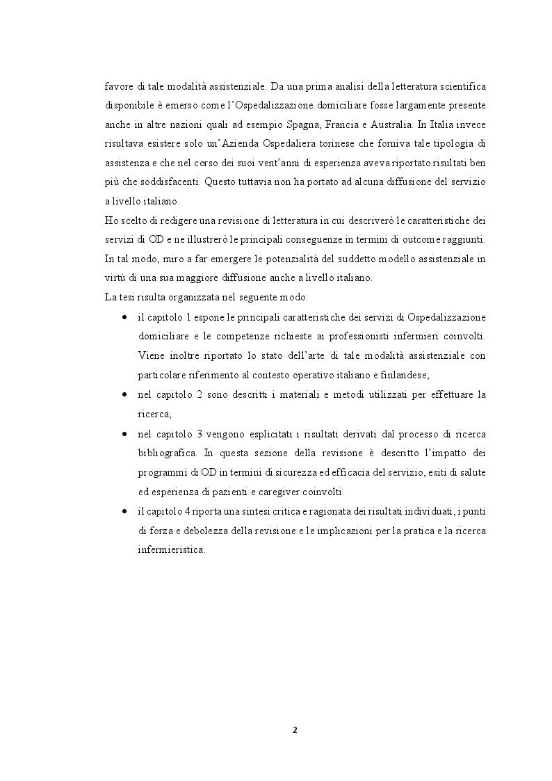 Anteprima della tesi: Modelli innovativi di ospedalizzazione: potenzialità del setting domiciliare come sede alternativa di ricovero, Pagina 3