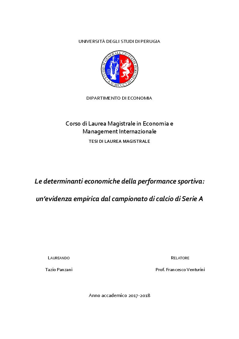 Anteprima della tesi: Le determinanti economiche della performance sportiva: un'evidenza empirica dal campionato di calcio di Serie A, Pagina 1