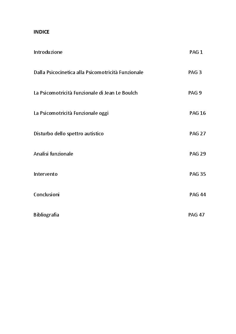 Indice della tesi: Psicomotricità funzionale e disturbo dello spettro autistico, Pagina 1