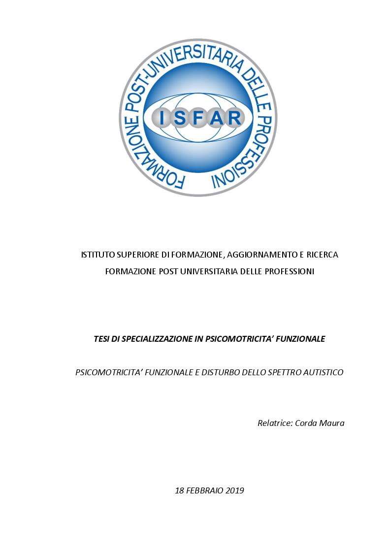 Anteprima della tesi: Psicomotricità funzionale e disturbo dello spettro autistico, Pagina 1