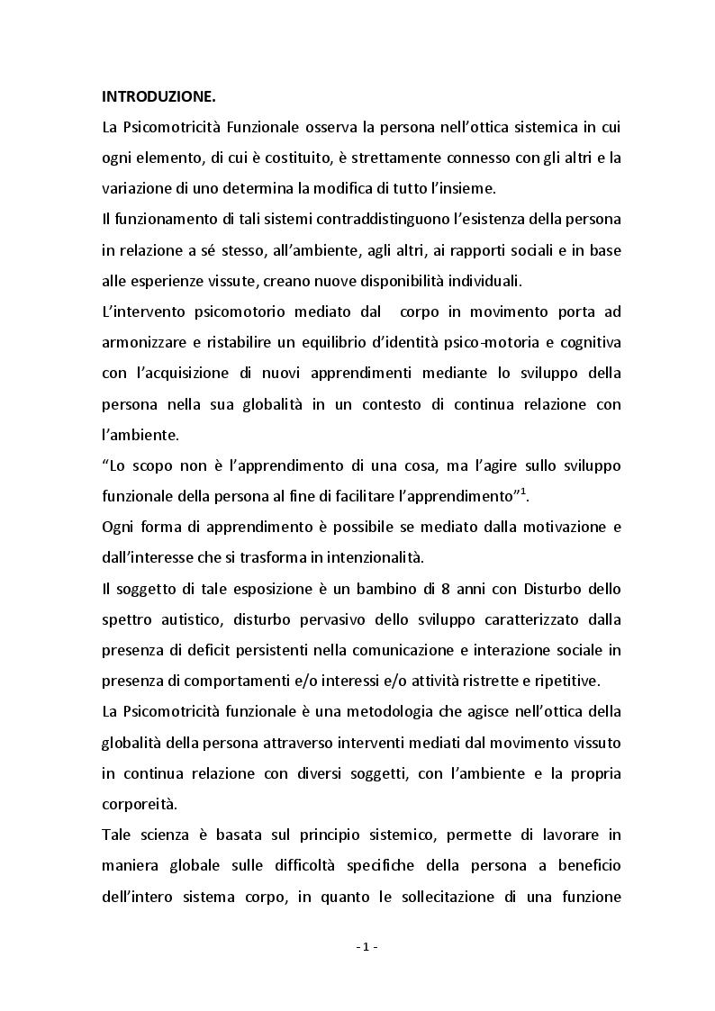 Anteprima della tesi: Psicomotricità funzionale e disturbo dello spettro autistico, Pagina 2