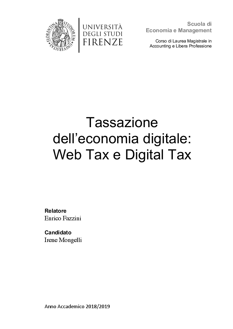 Anteprima della tesi: Tassazione dell'economia digitale: Web Tax e Digital Tax, Pagina 1