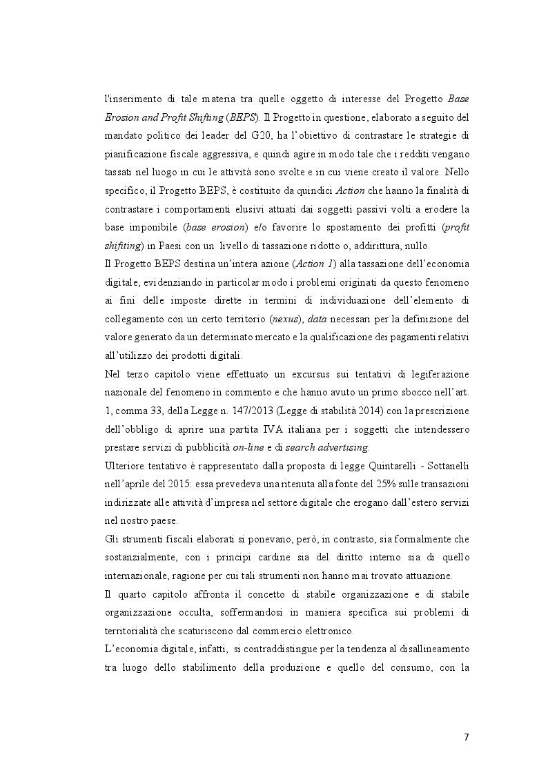 Anteprima della tesi: Tassazione dell'economia digitale: Web Tax e Digital Tax, Pagina 4