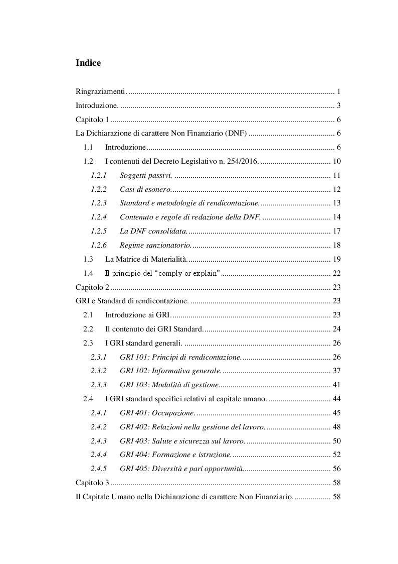 Indice della tesi: La dichiarazione di carattere non finanziario: l'informativa sul capitale umano, Pagina 1