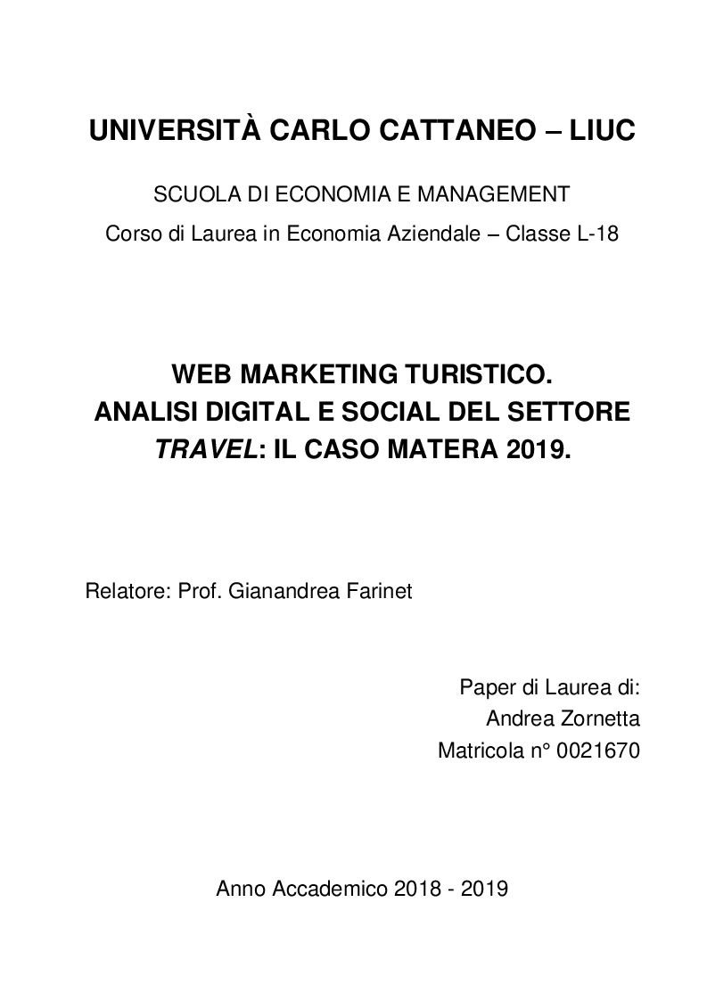Anteprima della tesi: Web marketing turistico. Analisi digital e social del settore travel: il caso Matera 2019., Pagina 1