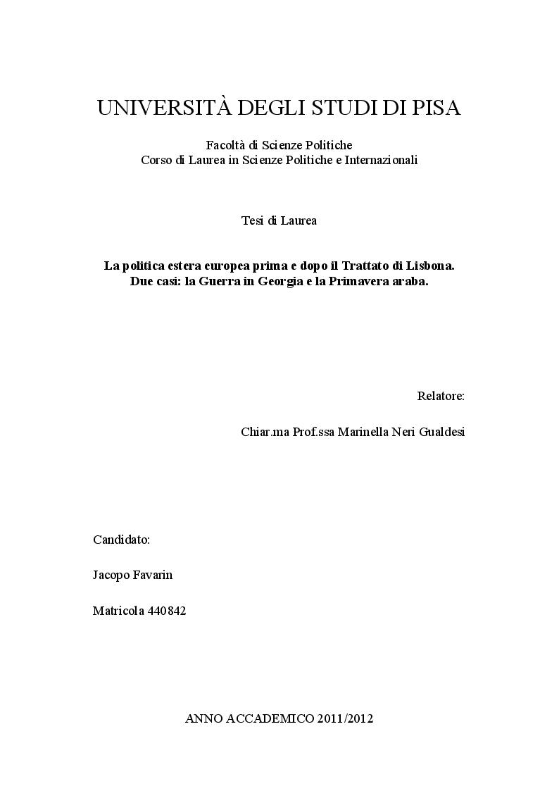 Anteprima della tesi: La politica estera europea prima e dopo il Trattato di Lisbona. Due casi: la Guerra in Georgia e la Primavera araba, Pagina 1