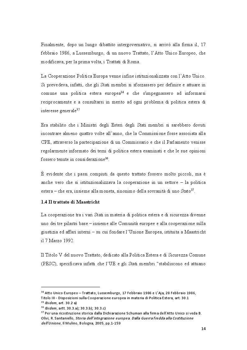 Anteprima della tesi: La politica estera europea prima e dopo il Trattato di Lisbona. Due casi: la Guerra in Georgia e la Primavera araba, Pagina 4