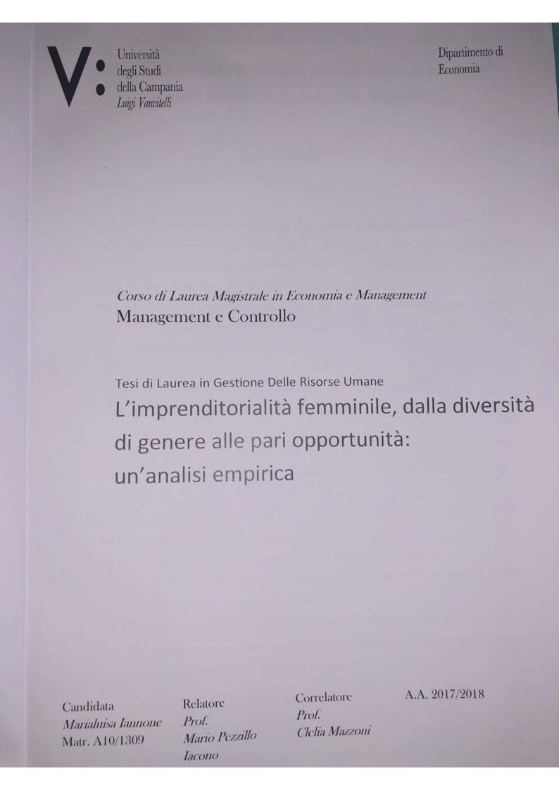 Anteprima della tesi: L'Imprenditorialità femminile, dalla diversità di genere alle pari opportunità: un'analisi empirica, Pagina 1