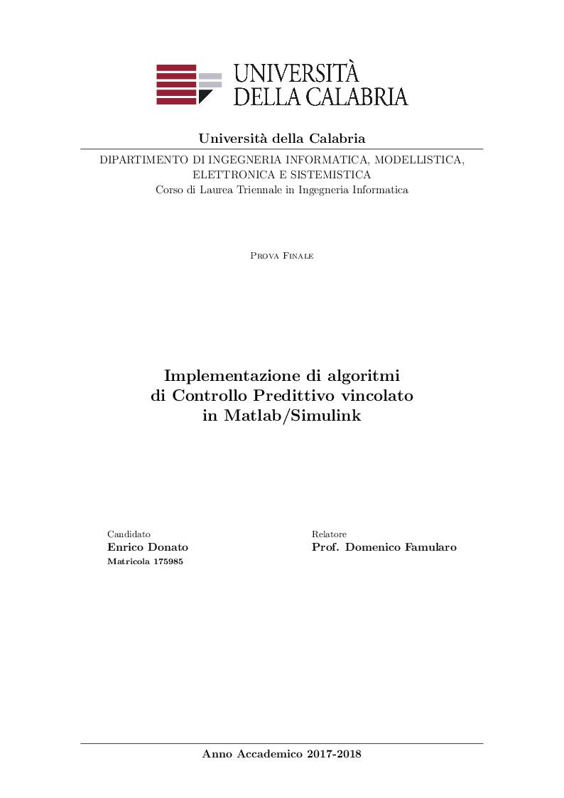 Anteprima della tesi: Implementazione di algoritmi di Controllo Predittivo vincolato in Matlab/Simulink, Pagina 1