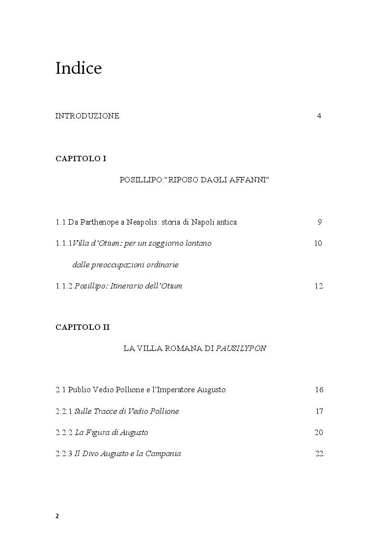 Indice della tesi: Pausilypon: la villa di Vedio Pollione e dell'imperatore Augusto, Pagina 1