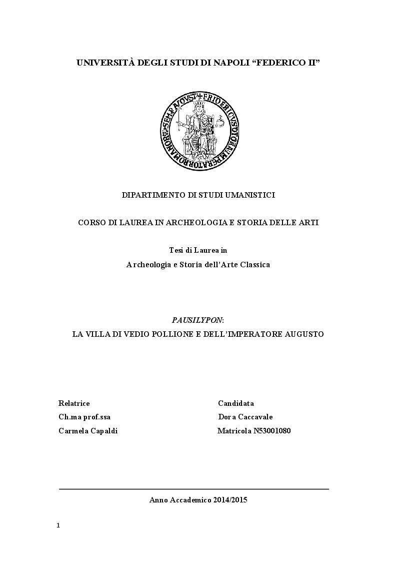 Anteprima della tesi: Pausilypon: la villa di Vedio Pollione e dell'imperatore Augusto, Pagina 1