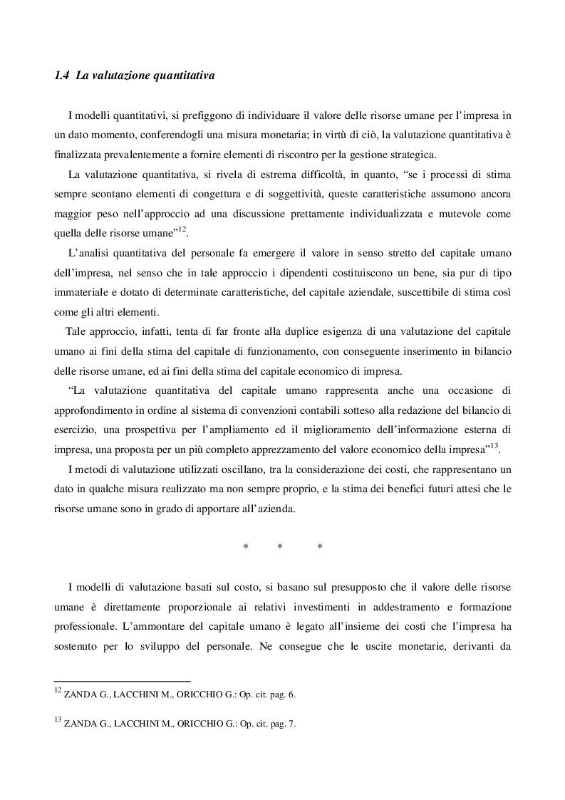 Estratto dalla tesi: Il Capitale Umano nella valutazione del Capitale Economico e del Capitale di Funzionamento