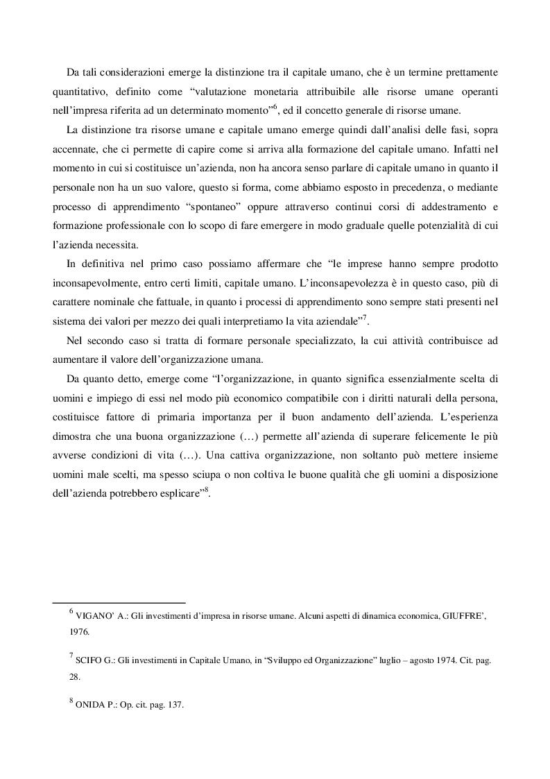 Anteprima della tesi: Il Capitale Umano nella valutazione del Capitale Economico e del Capitale di Funzionamento, Pagina 6
