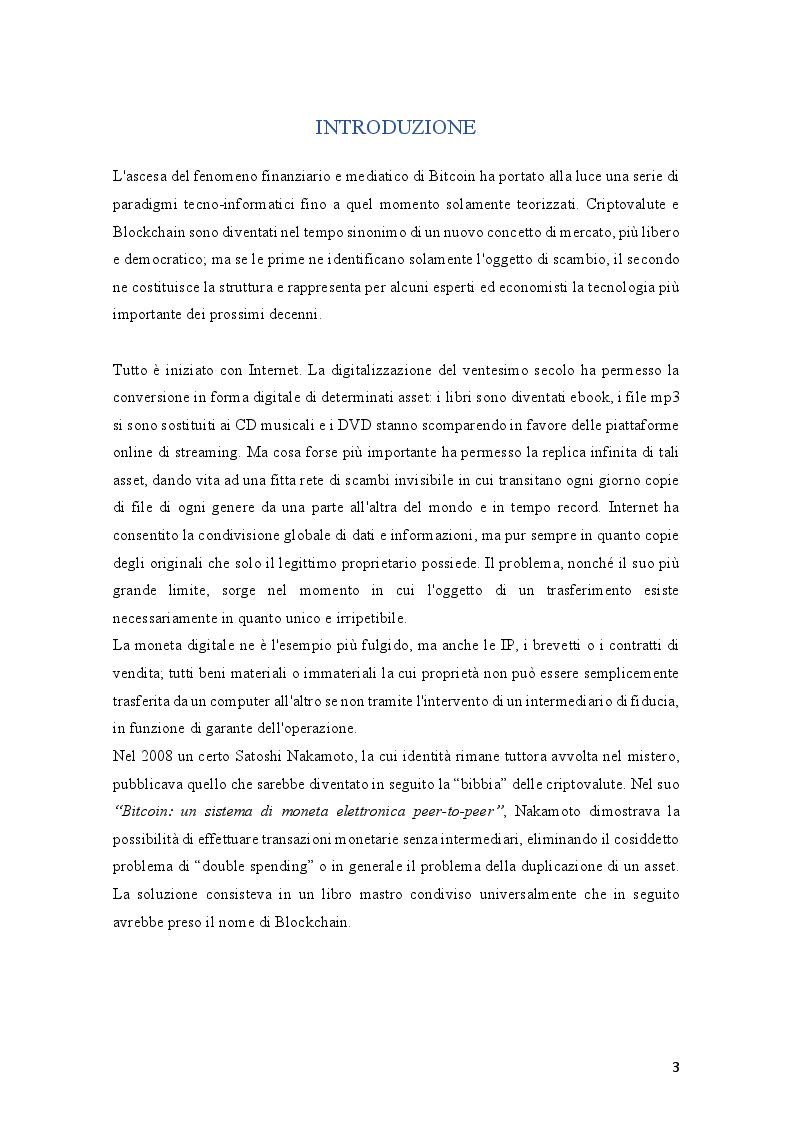 Anteprima della tesi: Tecnologia Blockchain: funzionamento, scenari applicativi e benefici della Nuova Internet, Pagina 2
