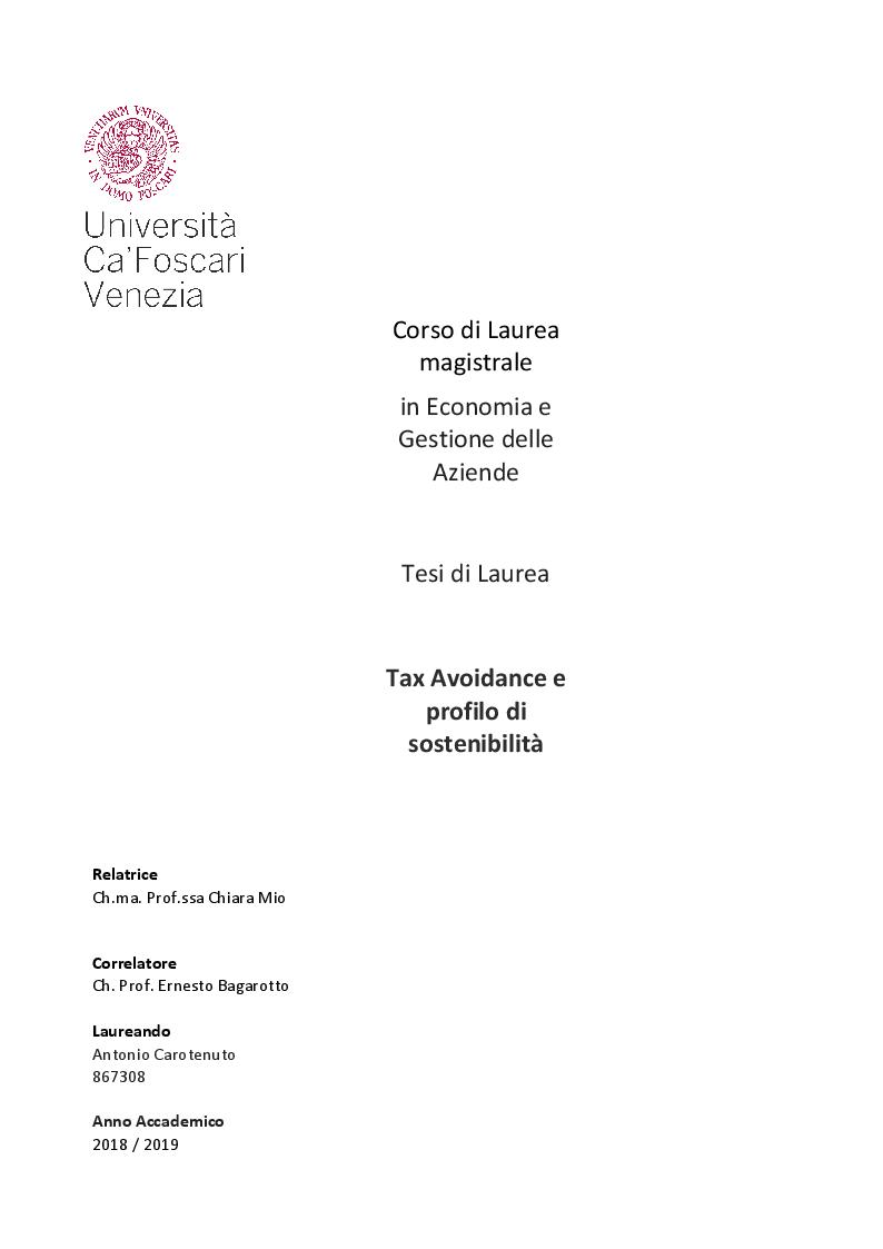 Anteprima della tesi: Tax Avoidance e profilo di sostenibilità, Pagina 1