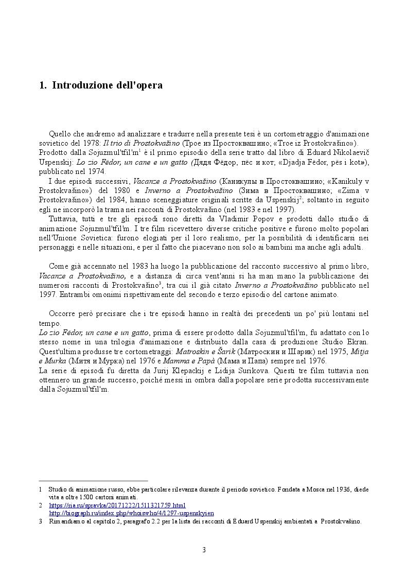 """Anteprima della tesi: """"Troe iz Prostokvašino"""", Il trio di Prostokvašino: traduzione di un cortometraggio d'animazione russo, Pagina 3"""