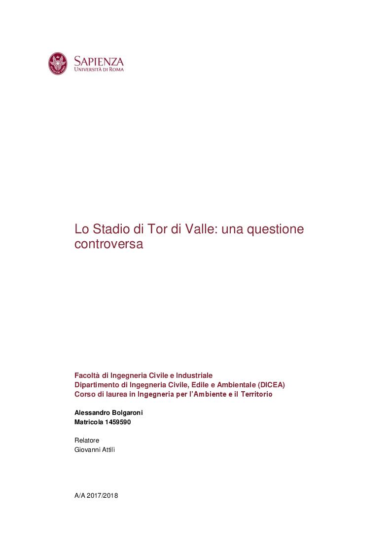 Anteprima della tesi: Lo Stadio di Tor di Valle: una questione controversa, Pagina 1