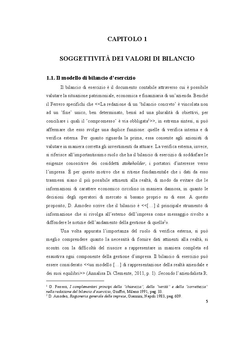 Anteprima della tesi: Le valutazioni di bilancio tra rigore normativo e soggettività interpretativa, Pagina 3