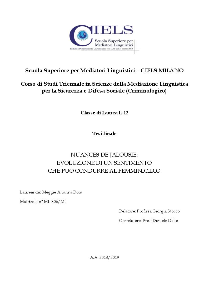 Anteprima della tesi: Nuances de jalousie: evoluzione di un sentimento che può condurre al femminicidio, Pagina 1
