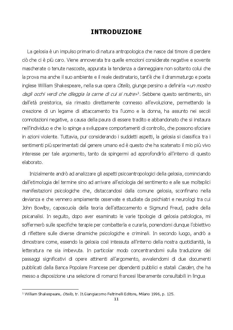 Anteprima della tesi: Nuances de jalousie: evoluzione di un sentimento che può condurre al femminicidio, Pagina 2