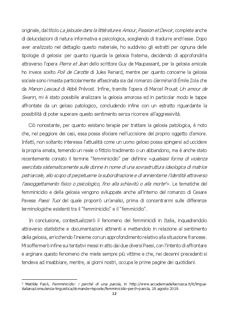 Anteprima della tesi: Nuances de jalousie: evoluzione di un sentimento che può condurre al femminicidio, Pagina 3