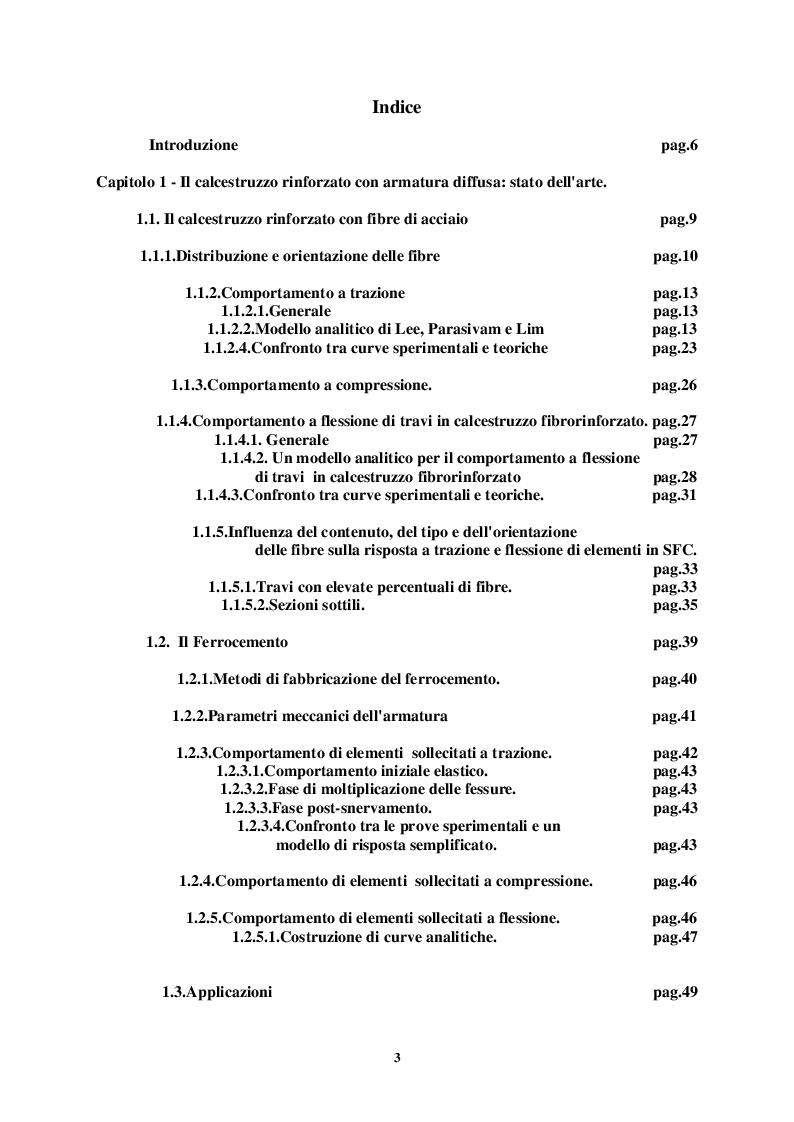 Indice della tesi: Comportamento di strutture in calcestruzzo con armatura diffusa, Pagina 1