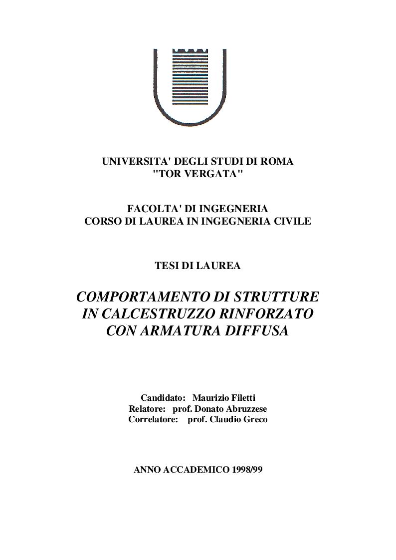 Anteprima della tesi: Comportamento di strutture in calcestruzzo con armatura diffusa, Pagina 1