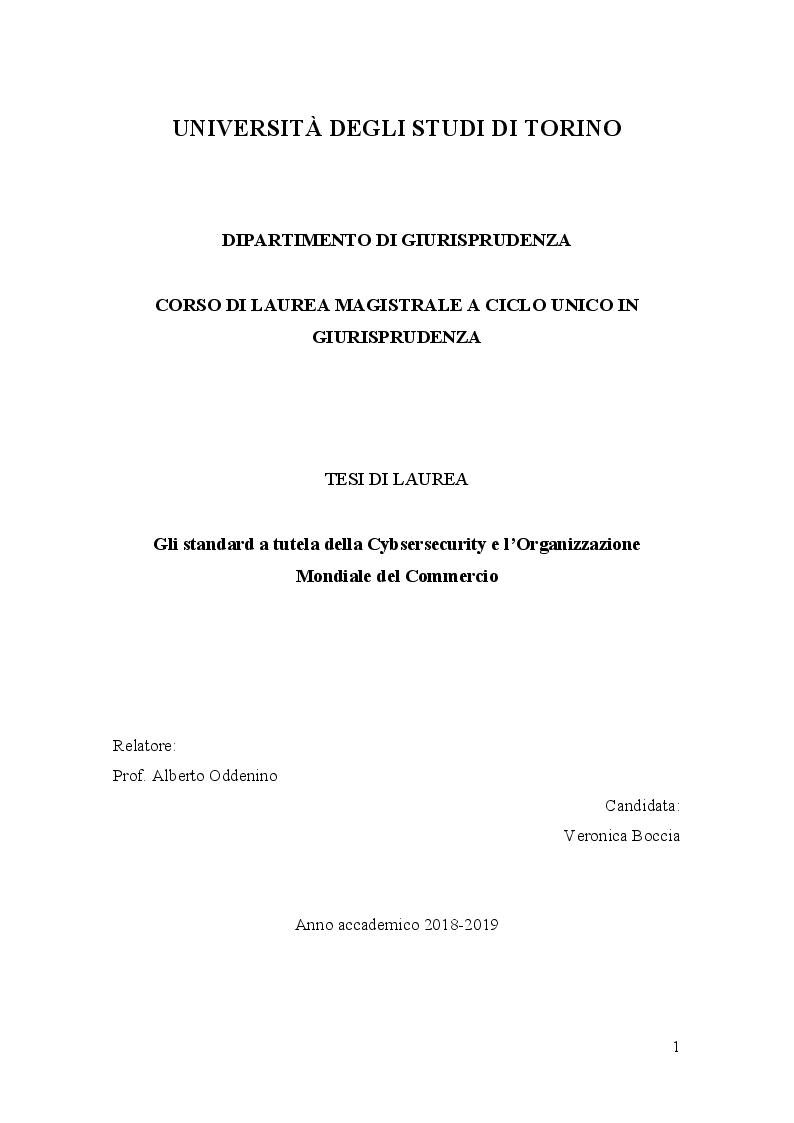 Anteprima della tesi: Gli standard a tutela della Cybersecurity e l'Organizzazione Mondiale del Commercio, Pagina 1