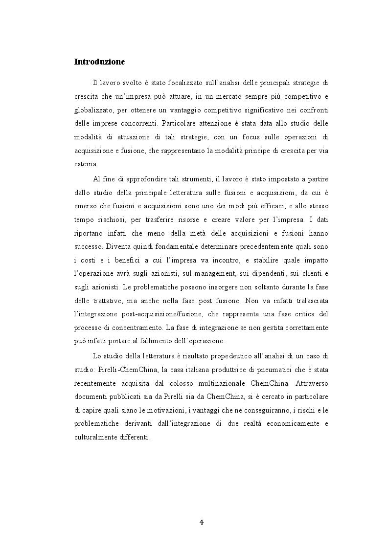 Anteprima della tesi: Le modalità di attuazione delle strategie di crescita: il caso Pirelli S.p.A. - ChemChina, Pagina 2
