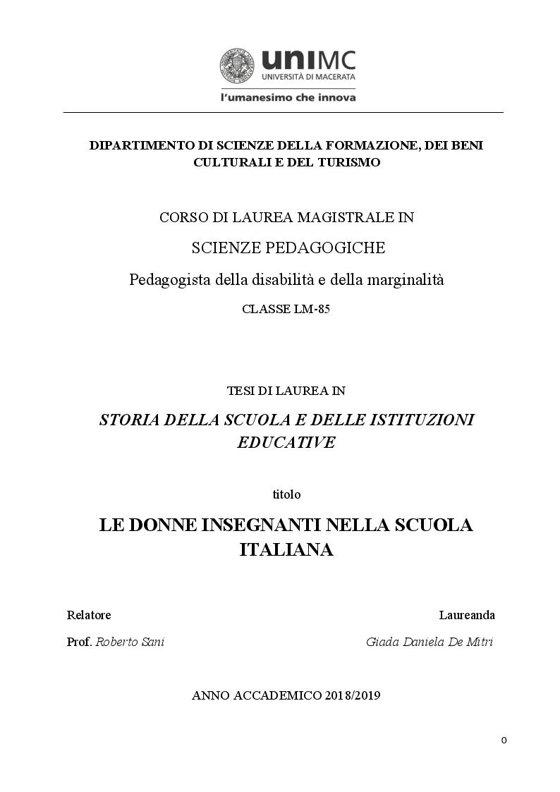 Anteprima della tesi: Le donne insegnanti nella scuola italiana, Pagina 1