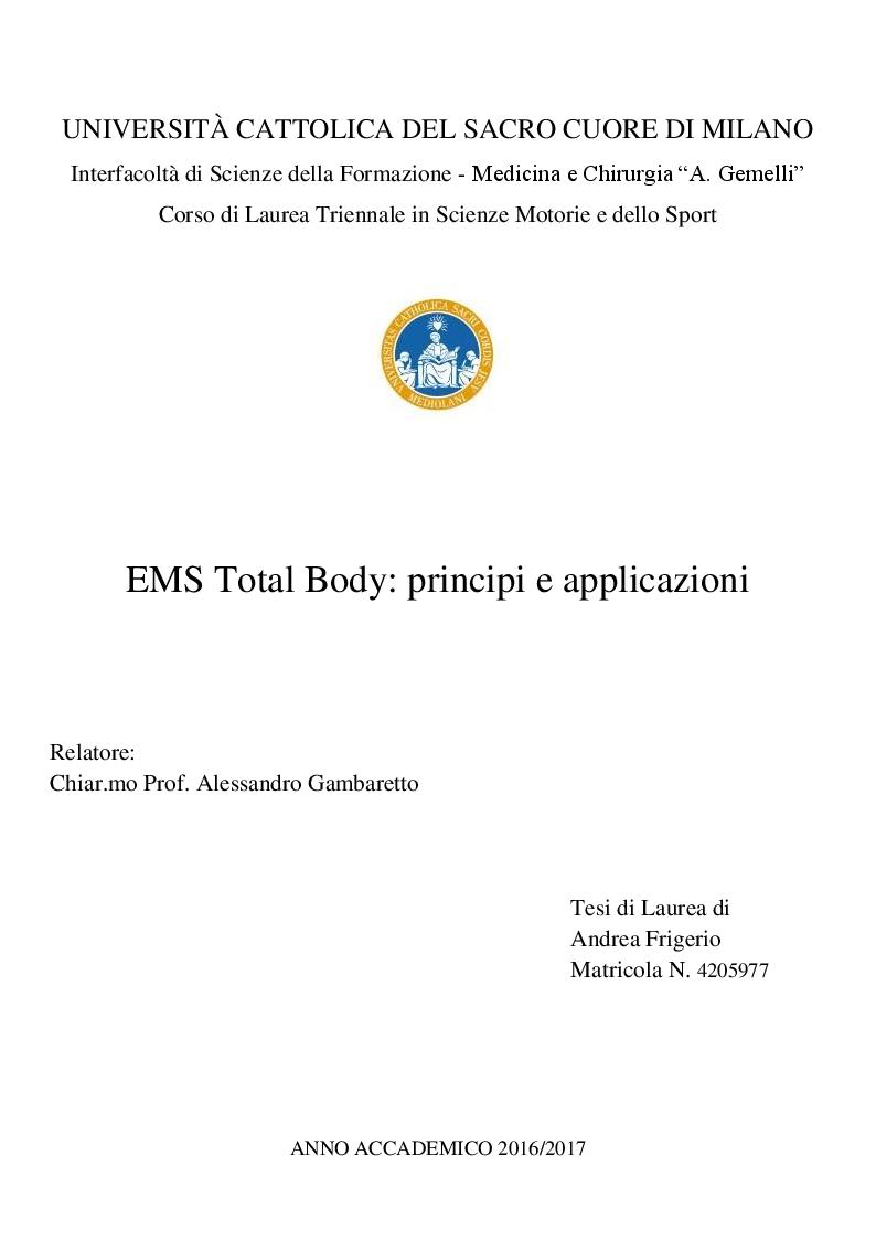 Anteprima della tesi: EMS Total Body: principi e applicazioni, Pagina 1