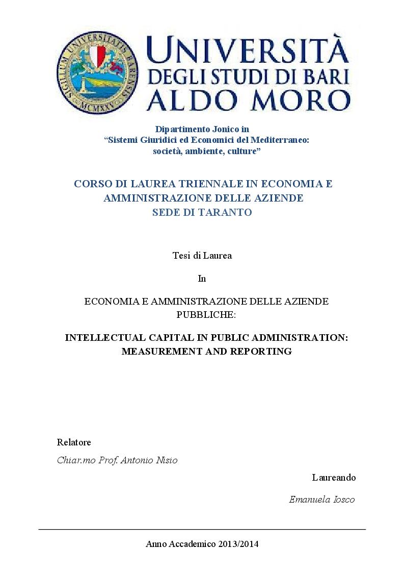 Anteprima della tesi: Il Capitale intellettuale nelle Pubbliche Amministrazioni: misurazione e reporting, Pagina 1